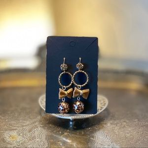 Betsey Johnson Leopard and Bow Earring